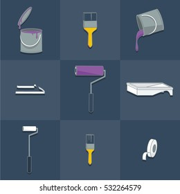 Repeating pattern of redecorating items: rollers, paint brushes, paint can, paint tray and masking tape in flat style vector illustration icon set