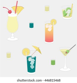 Repeating pattern, vector illustration of alcoholic cocktail drinks: Pina Colada, Mojito, Tequila Sunrise, Blue Lagoon, Martini and various shots in flat style