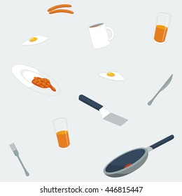 Repeating pattern, vector illustration of breakfast items: frying pan, spatula, mug of coffee, knife and fork, orange juice, baked beans, fried egg and sausages in flat style