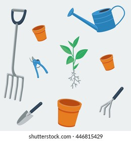 Repeating pattern, vector illustration of gardening tools and items: fork, watering can, terracotta pots, pruner, cultivator, trowel and plant in flat style