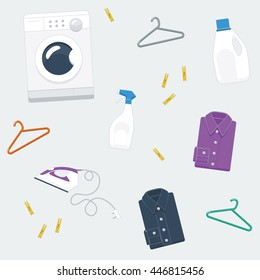 Repeating pattern, vector illustration of laundry items: washing machine, clothes hangers, detergent, stain remover, shirts, iron,and clothes pegs in flat style