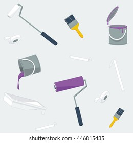 Repeating pattern, vector illustration of redecorating items: rollers, paint brushes, paint tins, paint tray and masking tape in flat style