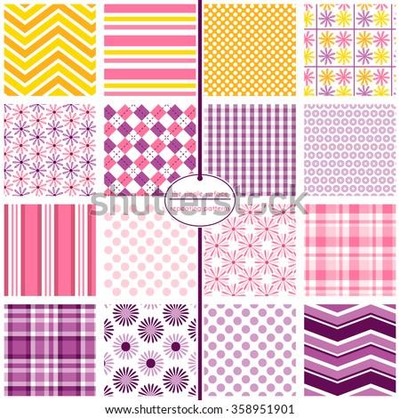 Repeating Patterns Digital Paper Scrapbooking Cards Stock Vector
