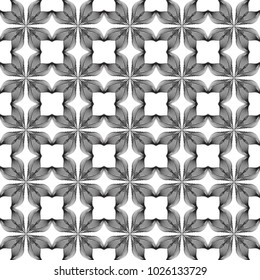 Repeating petals - seamless black and white pattern