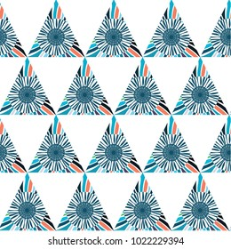 Repeating positive creative background. Multicolored wallpaper. Modern stylish texture. Repeating geometric tiles from striped triangles. Vector illustration.
