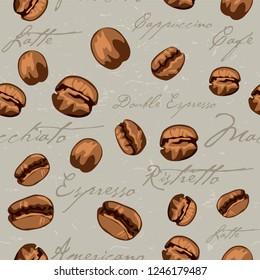 Repeating seamless coffee bean pattern including the text Espresso, Double Espresso, Macchiato, Ristretto, Americano, Café Latte, Cappuccino.