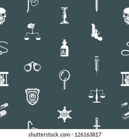 A repeating seamless crime, law or legal background tile texture with lots of icons of different items related to crime and law enforcement
