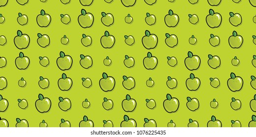 Repeating seamless pattern of bright green cartoon apples