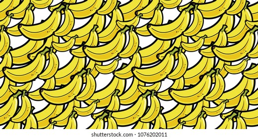 Repeating seamless pattern of bright yellow cartoon bananas