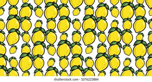 Repeating seamless pattern of bright yellow cartoon lemons