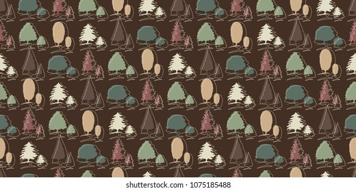 Repeating seamless pattern of forest tree outlines on a dark background