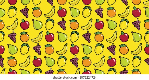 Repeating seamless pattern of fruit in bright colours