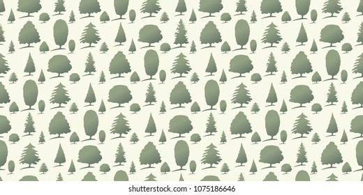 Repeating seamless pattern of green forest trees