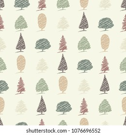Repeating seamless pattern of tree sketch outlines in autumn colours