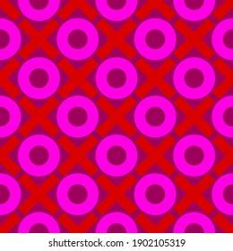 Arrière-plan XOXO répétitif en rouge et rose clair sur fond violet. Harmonieux et répétitif.