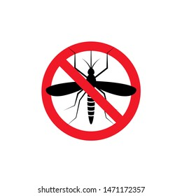 Repellent mosquito stop sign icon. Malaria pest insect anti mosquito warning symbol.