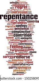 Repentance word cloud concept. Collage made of words about repentance. Vector illustration