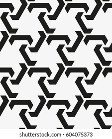 Repetition of geometric tiles with a grid of regularly scattered figures.