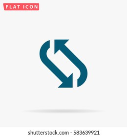 Repetition Icon Vector. Flat simple Blue pictogram on white background. Illustration symbol with shadow.