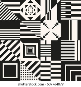 Repetitive squares with monochrome abstract shapes./Seamless Pattern with abstract geometric shapes.