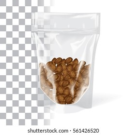 Replace Cookies with Product - Plastic Bag Stand Up Pouch Zipper Transparent Mock-up Package