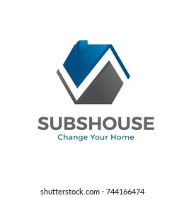Replace Roof House Logo and Icon Element Template