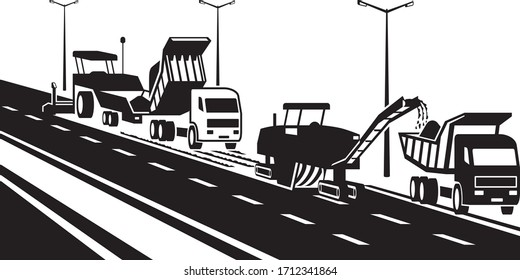 Replacement of asphalt pavement on the highway – vector illustration