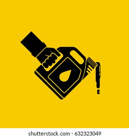 Replacement motor oil icon. Car mechanic hold canister of motor oil silhouette, isolated on background. Station service maintenance. Lubrication engine and mechanisms. Vector pictogram flat design.