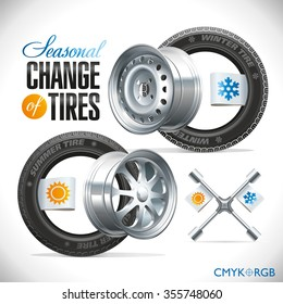Replacement tires for the season specified on the label wheel