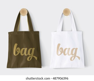 "Replaces ""bag"" by design and Change colors Mockup Cotton Paper Bag Signboard Shop Mock Up"