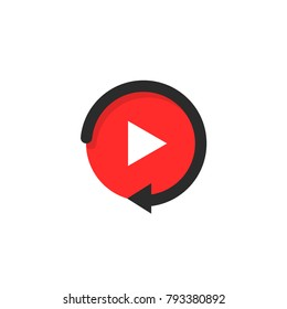replay icon like video play button. simple flat style trend modern red logotype graphic design on white background. concept of watching on streaming video player or livestream webinar ui emblem