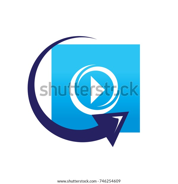 replay video symbol, play sign with arrow, symbol design, isolated on white background.