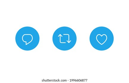 Reply Tweet, Retweet, and Like. Button Icon Set of Twitter Post
