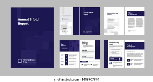 Report Brochure Creative Design. Multipurpose template with cover, back and inside pages. Trendy minimalist flat geometric design. Vertical a4 format. - Vector