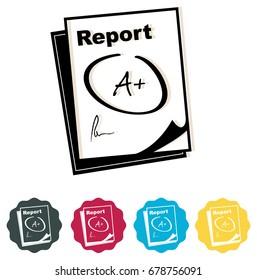 Report Card - Icon - Illustration
