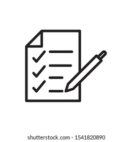 report check mark paper pen delivery icon vector illustration thick line