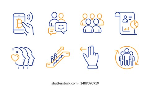 Report, Communication and Escalator line icons set. Friends couple, Group and Bitcoin pay signs. Touchscreen gesture, Teamwork symbols. Work statistics, Business messages. People set. Vector