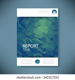 Report cover template with 3d low poly vector background. Business brochure or presentation title page. Eps10 vector illustration.
