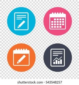 Report document, calendar icons. Pencil sign icon. Edit content button. Transparent background. Vector