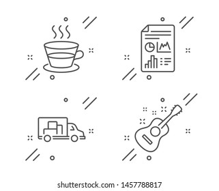 Report document, Coffee cup and Truck transport line icons set. Guitar sign. Growth chart, Tea mug, Delivery. Acoustic instrument. Business set. Line report document outline icon. Vector