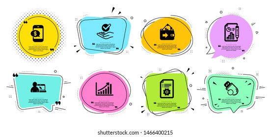 Report document, Graph chart and Phone payment line icons set. Chat bubbles with quotes. Flash memory, Online education and Wallet signs. Technical documentation, Approved symbols. Vector