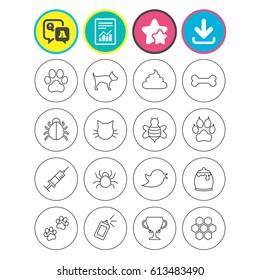 Report, download and star signs. Pets and Insects icons. Dog paw. Cat paw with clutches. Bone, feces excrement and vaccination. Honey, bee and honey comb. Question and answer or Q&A symbol. Vector