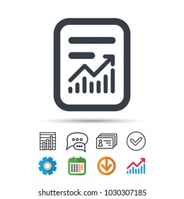 Report file icon. Document page with statistics symbol. Statistics chart, chat speech bubble and contacts signs. Check web icon. Vector