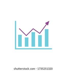 Report Fluctuate Graph Bar Arrow Vector Icon