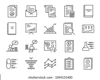 Report icon set. Included the icons as financial report, tax document, lab test, balance sheet, graph, analytic, analysis and more.
