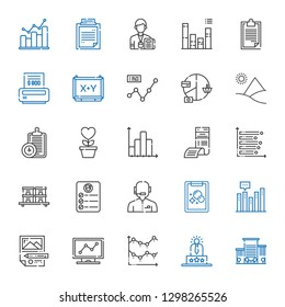 report icons set. Collection of report with office, user experience, line chart, analytics, planning, bar chart, tasks, news reporter, task. Editable and scalable report icons.