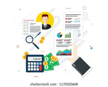 Report with investment data and graphs and growth on laptop screen and businessman hand. Calendar icon, calculator, money, briefcase and documents. Flat design vector illustration.