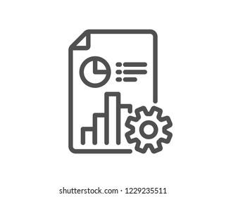 Report line icon. Column graph, pie chart sign. Market analytics symbol. Quality design flat app element. Editable stroke Report icon. Vector