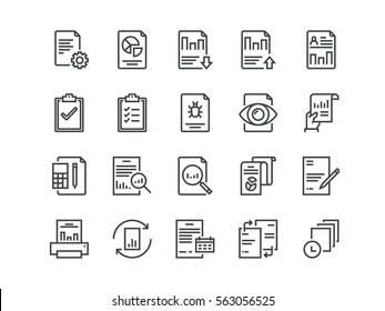 Report. Set of outline vector icons. Includes such as Auto Reports, Calculation, Settings, Generate and other.