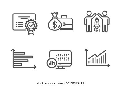 Report statistics, Salary and Partnership icons simple set. Certificate, Horizontal chart and Graph signs. Graph chart, Diplomat with money bag. Education set. Line report statistics icon. Vector
